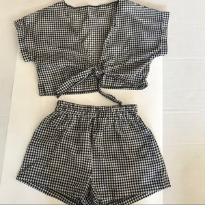 Shein Checkered Tie Front Top and shorts s…